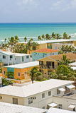Hollywood Beach, Florida. Summer scene with a colorful buildings and hotels in Hollywood Beach, Florida with blue sky and ocean in the background Stock Photo