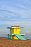 Hollywood Beach Florida, bright yellow lifeguard house Stock Photo