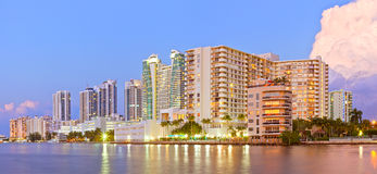 Hollywood Beach Florida, buildings at sunset Stock Photography