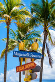 Hollywood Beach Florida. Hollywood Beach, Florida - July 6, 2017: Cityscape view of the colorful signs for the Margaritaville Resort, a popular tourist Stock Photography