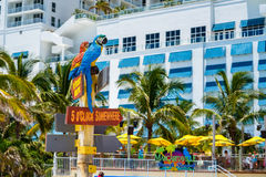 Hollywood Beach Florida. Hollywood Beach, Florida - July 6, 2017: Cityscape view of the colorful signs for the Margaritaville Resort, a popular tourist Stock Image