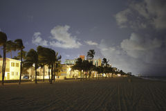 Hollywood Beach at night Stock Photography