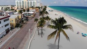Hollywood beach ocean boardwalk near Miami, Florida aerial view stock video
