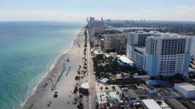 Hollywood beach ocean boardwalk near Miami, Florida aerial view stock video footage