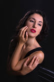 Hollywood beauty. Stunning black haired model posing in vintage style like a hollywood actress stock images