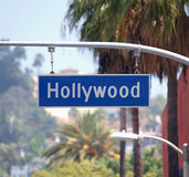 Hollywood Bl Sign. With palm trees in Los Angeles, California royalty free stock image