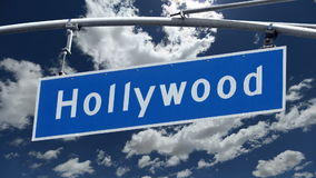 Hollywood Bl Street Sign with Time Lapse Clouds.  stock video