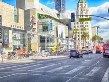 Getting Ready For The Oscars In Hollywood. Hollywood Blvd at the Dolby Theater where construction is going on to ready for the Oscars in Mar ch stock image
