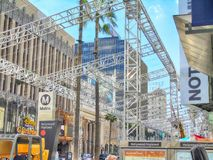 Getting Ready For The Oscars In Hollywood. Hollywood Blvd at the Dolby Theater where construction is going on to ready for the Oscars in Mar ch stock photography