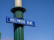 Hollywood BLVD at Hollywood Studios in Disney California Adventure Park. ANAHEIM, CALIFORNIA - FEBRUARY 15: Hollywood Blvd sign at  Hollywood Studios at Disney Royalty Free Stock Photo