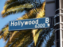 Hollywood Blvd Palms. Hollywood Blvd street sign with tall palm trees Royalty Free Stock Photos