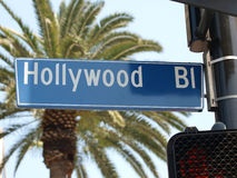 Hollywood Blvd Street Sign. With large palm tree Royalty Free Stock Photo