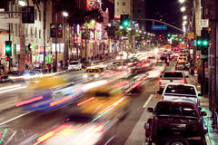 Hollywood Boulevard. Corner of Hollywood and Highland Boulevards at night Stock Photo