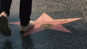 Hollywood Walk of Fame, Hollywood Blvd, CA stock footage