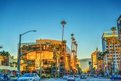 Hollywood boulevard på solnedgången arkivbild