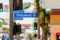 Hollywood Boulevard Road Sign in Los Angeles Stock Photography