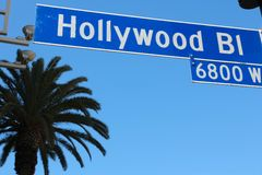 Hollywood. Boulevard sign in Los Angeles, California, USA stock image