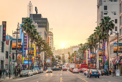 Hollywood Boulevard at sunset - Los Angeles - Walk of Fame. LOS ANGELES - DECEMBER 18, 2013: View of Hollywood Boulevard at sunset. In 1958, the Hollywood Walk