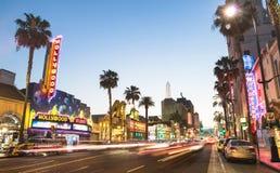 Hollywood bulwar i spacer sława przy zmierzchem zdjęcie stock