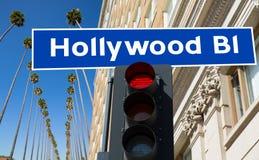 Hollywood bulwaru znaka ilustracja na drzewkach palmowych Obrazy Stock