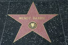 Wendy Barrie star on the Hollywood Walk of Fame. HOLLYWOOD, CA - DECEMBER 06: Wendy Barrie`s star has been replaced after vandalizing on the Hollywood Walk of Stock Photography