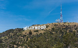 HOLLYWOOD, CALIFORNIA - April 21, 2016 - Hollywood sign on Santa Monica mountains in Los Angeles, USA. Originally created as advertisement for real estate Stock Images