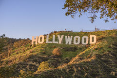 Hollywood. CALIFORNIA FEBRUARY 24, 2017: The  sign, built in 1923, is world famous landmark and American cultural icon on Mount Lee royalty free stock photography
