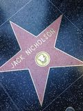 Jack Nicholson Hollywood walk of fame star. Royalty Free Stock Images