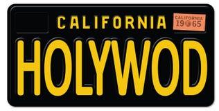 Hollywood California License Plate Retro Vintage. Movies art logo sign metal car freeway oscars royalty free illustration
