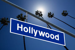 Hollywood California road sign on redlight with pam trees  photo. Hollywood California road sign on redlight with pam trees sky photo mount Stock Photo