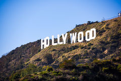 Hollywood California Sign. LOS ANGELES _ FEBRUARY 29, 2016: The Hollywood sign on Mt. Lee. The iconic sign was originally created in 1923 royalty free stock photos