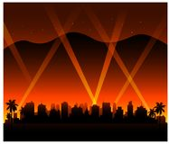 Hollywood california sunset city background. With party light stock illustration