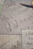 Hollywood chinese theatre celebrities hand footprint Stock Photos