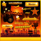 Hollywood cinema movie elements. Collection Stock Photo