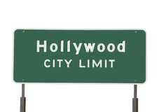 Hollywood City Limit Sign. Isolated on white Royalty Free Stock Image