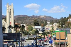 Hollywood cityscape. LOS ANGELES, USA - APRIL 5, 2014: Hollywood cityscape with famous Hollywood Sign in Los Angeles. The sign was originally created in 1923 and Stock Photo
