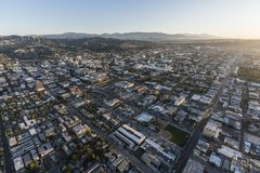 Hollywood Clear Winter Morning Aerial Los Angeles. Los Angeles, California, USA - February 20, 2018:  Clear winter morning aerial view of downtown Hollywood in Royalty Free Stock Image