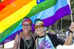 Hollywood del oeste, Los Ángeles, California, los E.E.U.U., el 14 de junio de 2015, 40.o gay anual Pride Parade para la comunidad Imágenes de archivo libres de regalías