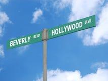 Hollywood en Beverly blvd voorzien van wegwijzers Royalty-vrije Stock Foto