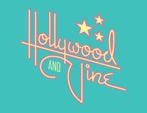 Hollywood en Wijnstok Retro Vectorontwerp met Sterren royalty-vrije illustratie