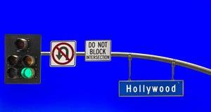 Hollywood för gatatecken boulevard Fotografering för Bildbyråer
