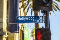 Hollywood för gatatecken boulevard i Hollywood arkivfoton