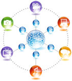 Hollywood Film Icon. 3D Global network icon for movie film industry Royalty Free Stock Photo