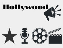 Hollywood film industry icons. movie clapper, microphone. Vector. Hollywood film industry icons. movie clapper, microphone. Vector illustrations Royalty Free Stock Photography
