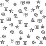 Hollywood filmu produkcji gwiazdy Bezszwowy wzór ilustracja wektor