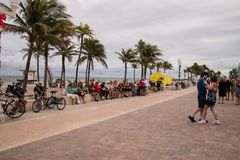 Tourists by the beach in Florida stock images