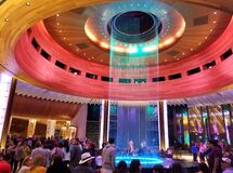 Free Hollywood, Florida, U.S.A - January 2, 2020 - Crowds By The Colorful Water Fountain Inside Of Seminole Hard Rock Cafe And Casino Royalty Free Stock Photography - 169697767