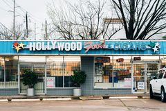 Hollywood Food & Cigars, in Montrose, Houston, Texas.  royalty free stock image