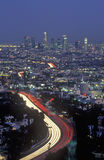 Hollywood Freeway and city view from Mulholland Drive, Los Angeles, California Royalty Free Stock Images