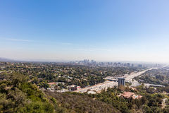 Hollywood freeway in Los Angeles, California. Through the San Fernando valley Royalty Free Stock Photography